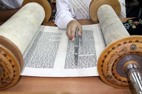 Reading the Torah scroll.
